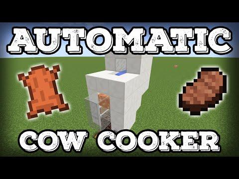 Minecraft Tutorial - Automatic Cow Cooker - Leather Farm - Steak Farm - Compact(Minecraft 1.13+)