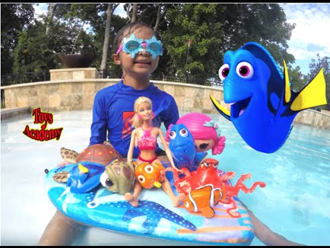 Finding Dory Finding Nemo Toy Haul Swimming with Barbie