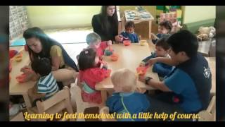 Blossom Village babies learning to eat independently