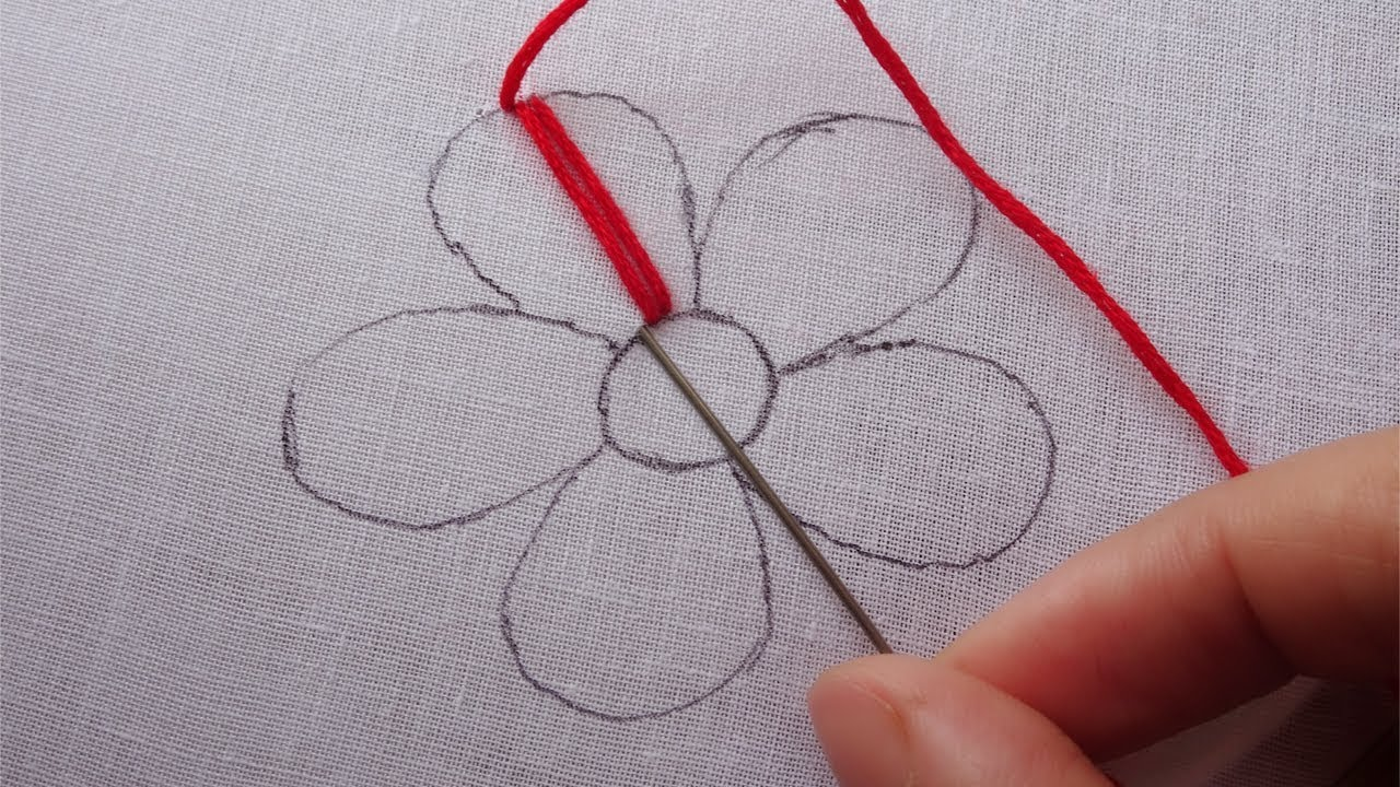 Hand Embroidery Easy Flower Design Modern Flower Embroidery Youtube
