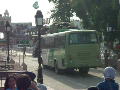 Pakistan Tourism Bus crossing wagha Border from India to enter Pakistan.