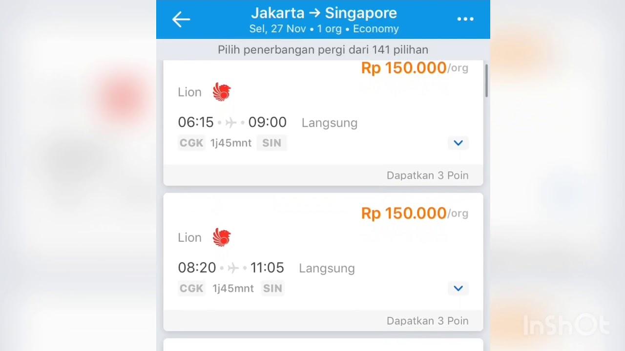 Harga Tiket Pesawat Lion Air Jakarta Singapore 150 K Youtube