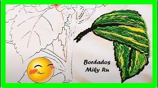 Bordado para las Hojas del Ramo de Hortencias - Miky Ru.