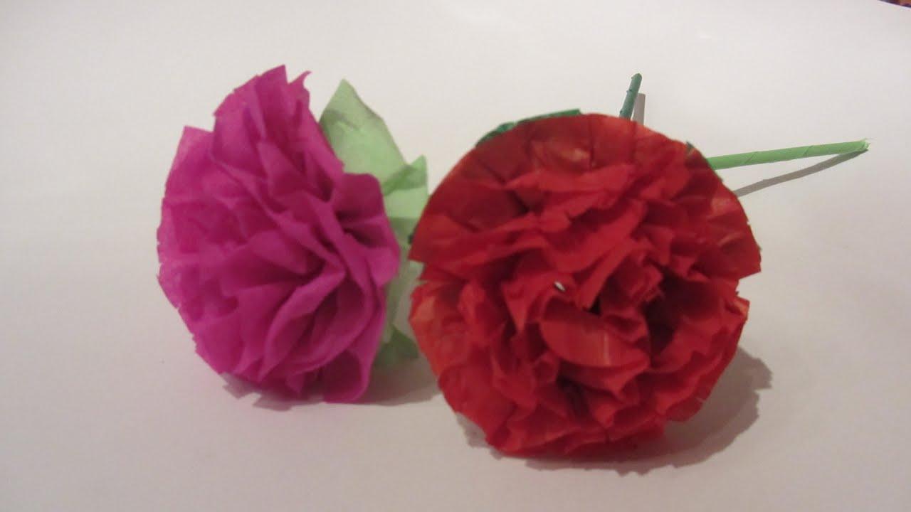 Claveles De Papel Seda Flores T Origami Manualidades