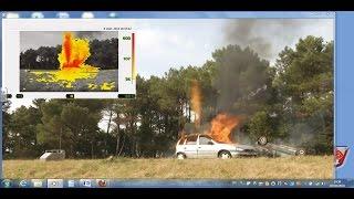 Essai de brûlage véhicule hydrogène torchère en haut