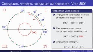 Откладывание углов заданных в градусах