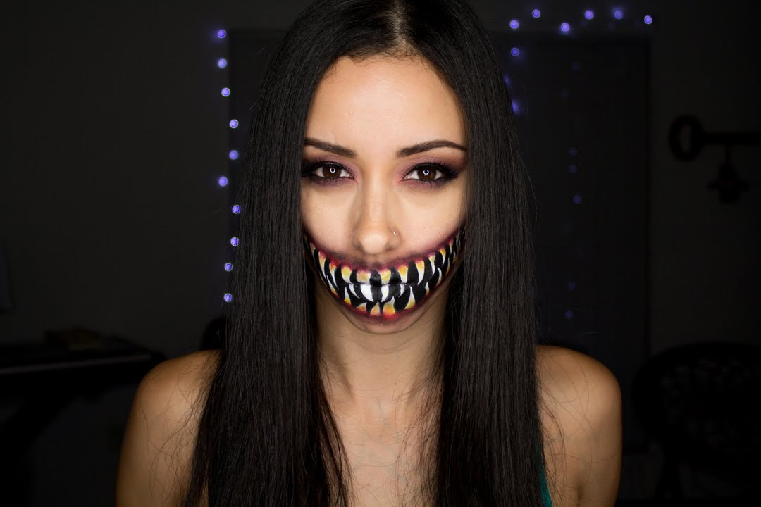 Creepy Mortal Kombat Mileena Mouth Tutorial | Halloween Face Paint ...