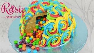 RAINBOW BUTTERCREAM SWIRL PINATA CAKE tutorial