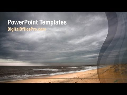 stormy weather on beach powerpoint template backgrounds