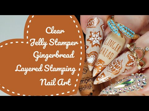NAIL ART TUTORIAL-Clear Jelly Stamper Christmas Layered Gingerbread Cookie Design thumbnail
