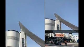شاهد..  اصطدام طائرة كويتية ببوابة جسر في مطار نيس بفرنسا |  صحيفة الأحساء نيوز
