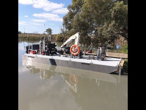 Aluminium boatbuilding custom 7.5m work barge time-lapse