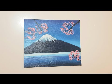 6 yr Old Girl Paints Beautiful Ocean Mountain Acrylic Painting Tutorial