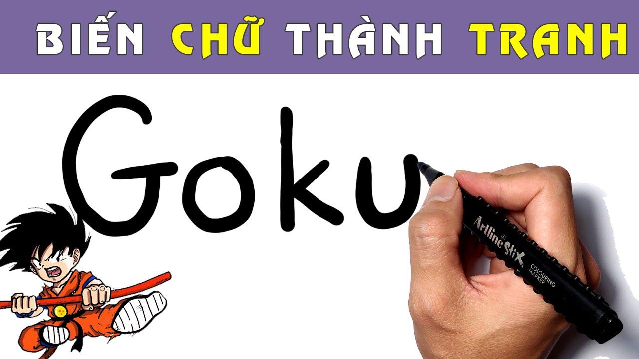 Học cách vẽ GOKU từ chữ viết cực sáng tạo! Vẽ ảo thuật