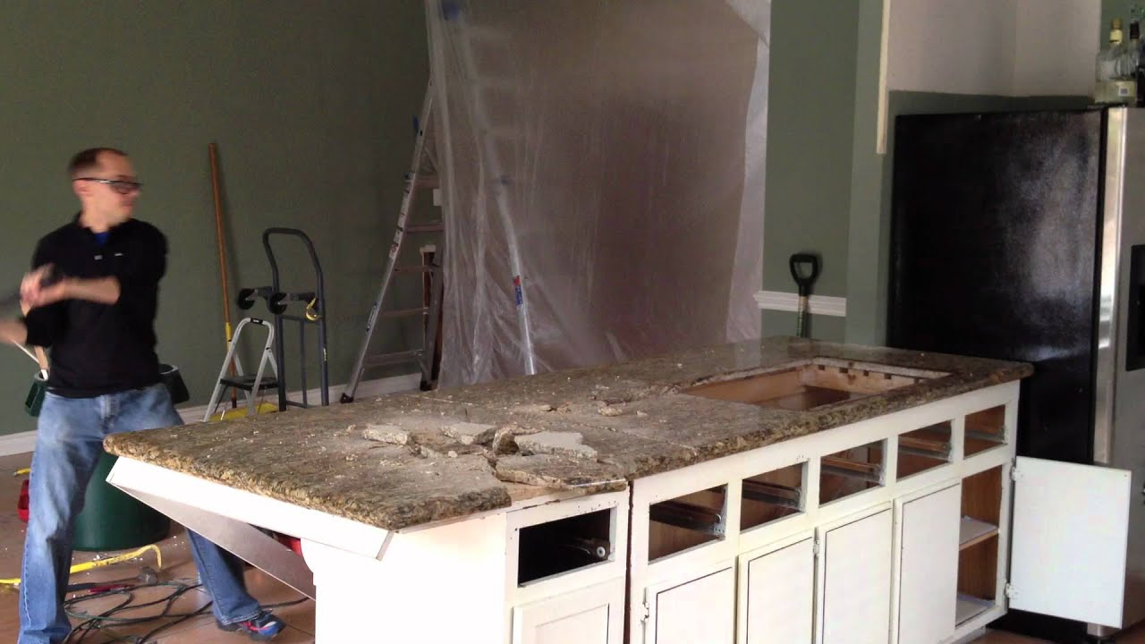 Countertop Removal : How to Remove a Granite Countertop - YouTube