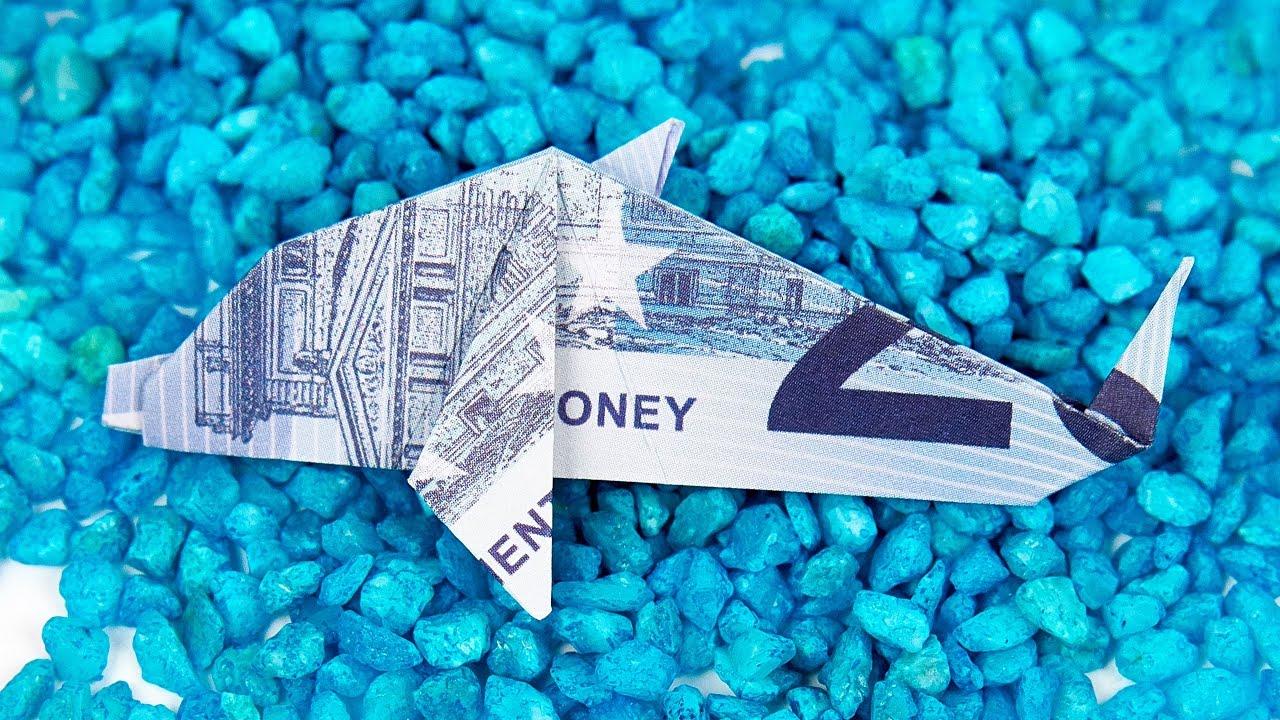 Geldschein Falten Fisch Origami Delfin Aus Geld Falten Anleitung
