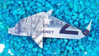 Geldschein falten FISCH, Origami DELFIN aus GELD falten, Anleitung in 4K