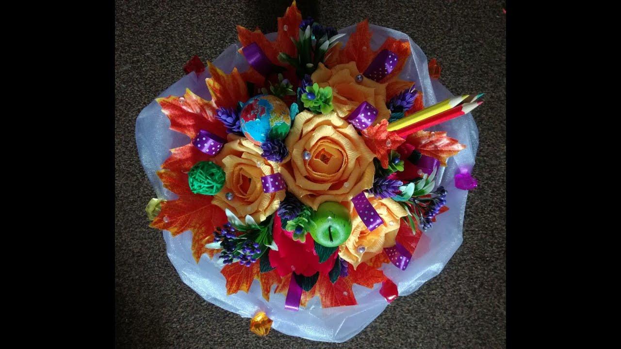 Подарок для учителя - букет из конфет своими руками. Teacher Gift.