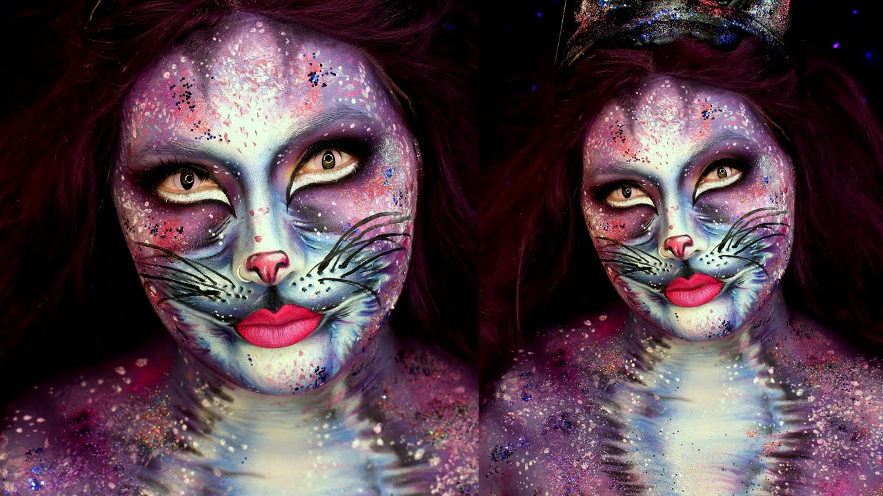 glam galaxy cat halloween makeup tutorial jordan hanz
