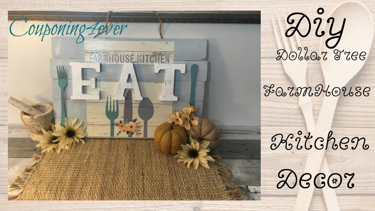 DIY DOLLAR TREE FARMHOUSE KITCHEN WALL DECOR - YouTube