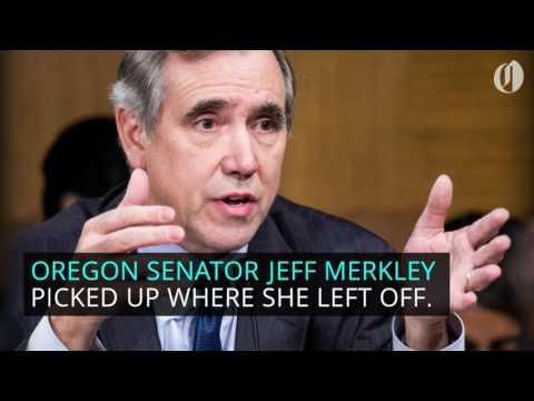 Jeff Merkley takes over for Elizabeth Warren, reads Coretta Scott King letter