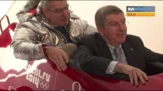 IOC President Thomas Bach Tries Out Bobsled Simulator in Sochi