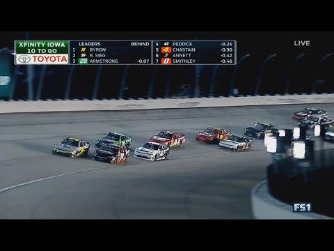 NASCAR Xfinity Series 2017. Iowa Speedway. Restart & Last Laps