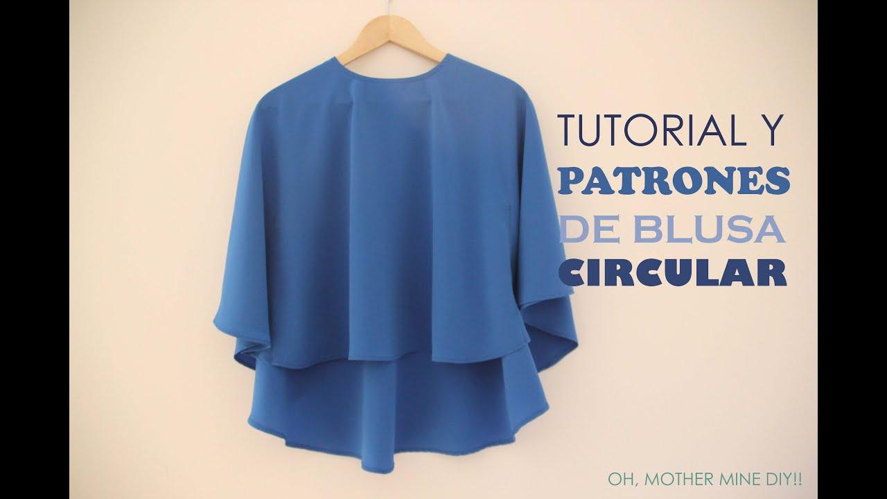 10ab9933d Tutorial y patrones  Blusa circular para mujer - YouTube