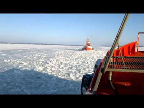 Pilot Boats meets in ice near Orrengrund island  Finland 2011