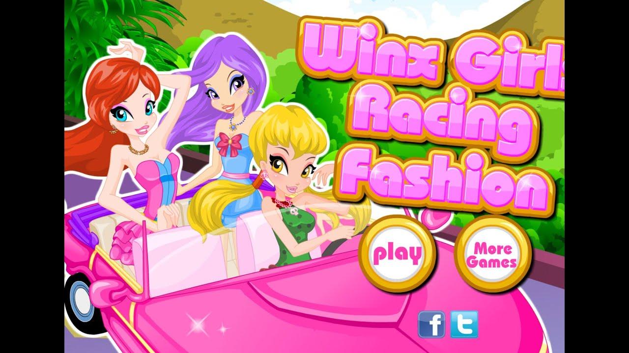 Винкс одевалка для езды на автомобиле (Winx Girls Racing Fashion)|одевалки девушки мода