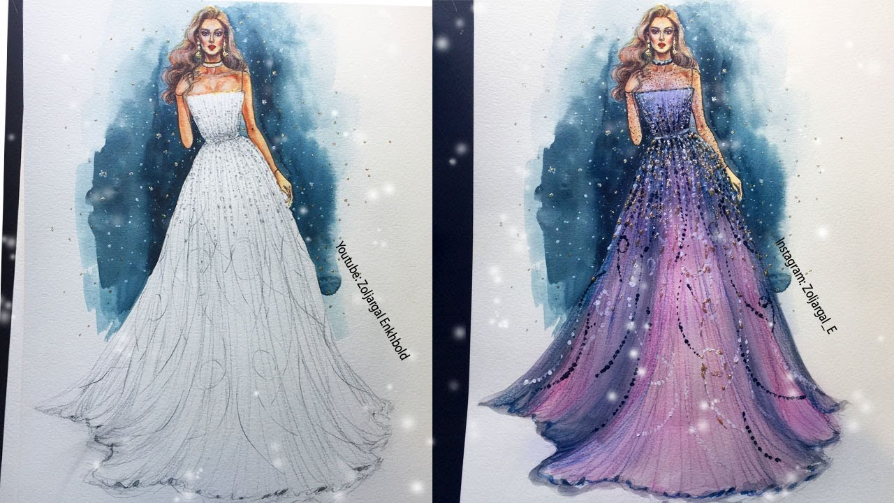 Fashion Sketch , Gown Speed Painting , Watercolor and Pencils ( beginners  level )