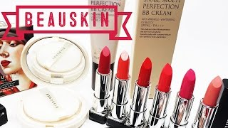 [SWATCH + REVIEW] BEAUSKIN BB CREAM, TWO WAY CAKE & LIPSTICKS (WITH CC ENGSUB)