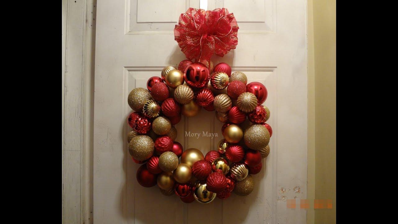Corona navide a de esferas diy manualidades decoraci n for Decoracion navidena manualidades