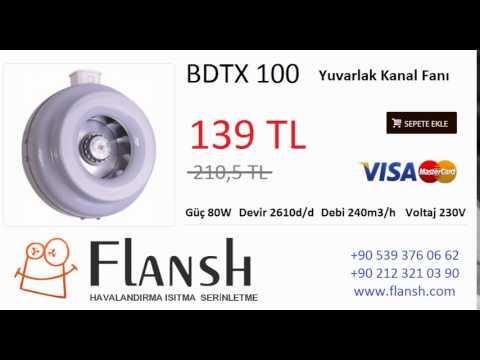 BDTX 100 Yuvarlak Kanal Tipi Fanı 240 M3/H Bahçıvan BVN