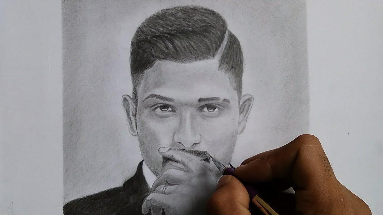 Drawing allu arjun naa peru surya how to frame finish your sketch raz arts