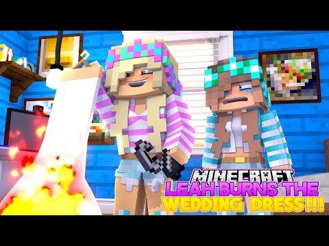 Minecraft LEAH BURNS DONNY'S GIRLFRIEND'S WEDDING DRESS!!!- Donny & Lea Adventures