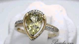 Olitaire Pear Cut Lemon Quartz And Diamond Gemstone Ring In Yellow Gol ... [rz71614]