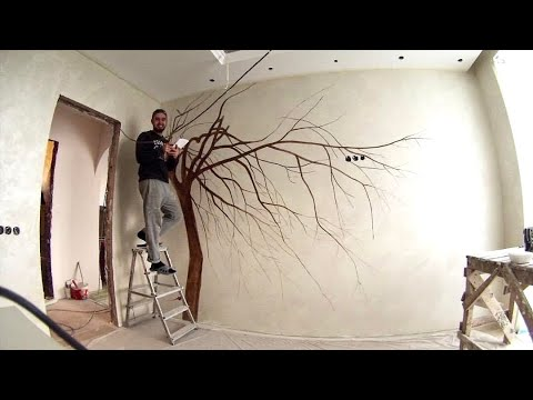 роспись стен, сакура в интерьере