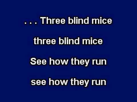 Three Blind Mice, Karaoke video with lyrics, Instrumental version