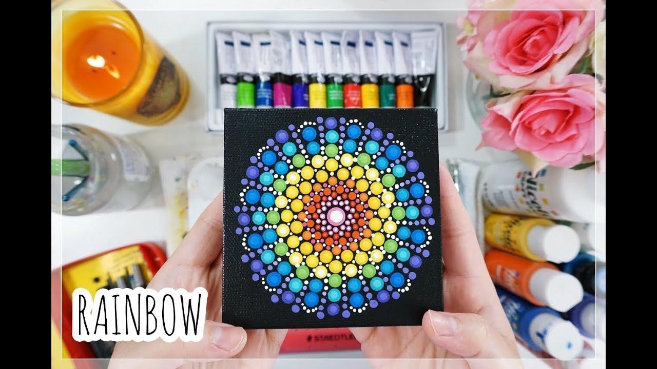 Easy Mandala Dot Painting   RAINBOW