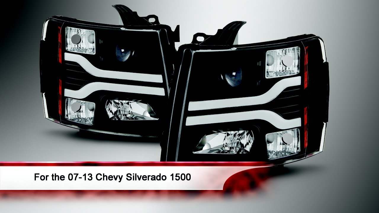 07 13 Chevy Silverado 1500 Version 3 Led Drl Projector Headlights