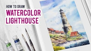 How to draw watercolor lighthouse