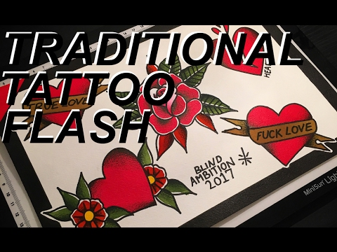Traditional Tattoo Flash Timelapse Youtube