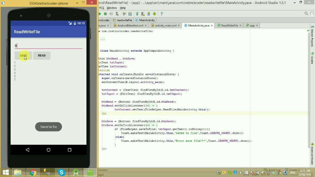 Read And Write Text File In Android Studio – Instinct Coder