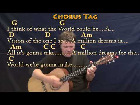 A Million Dreams (The Greatest Showman) Guitar Cover Lesson with Chords/Lyrics - High Voice