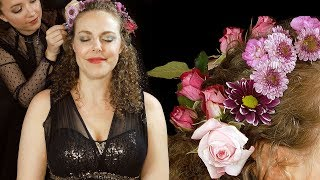 ASMR Flower Crown Hair Styling No Talking - Lucy & Corrina