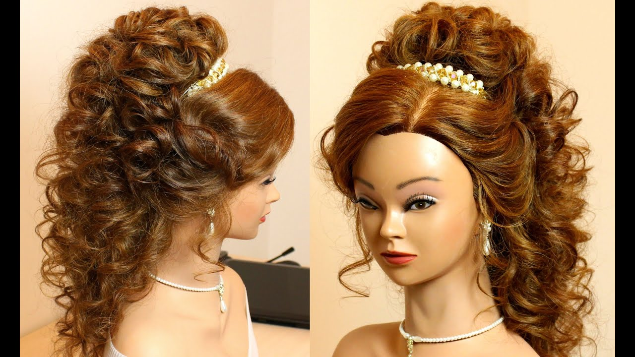curly bridal hairstyle for long hair tutorial.