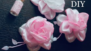 Розы из атласных лент / DIY Satin Ribbon Rose hair Clips / Rosas de cintas kanzashi