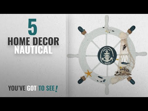 Top 10 Home Decor Nautical [2018 ]: Nautical Beach Wooden Boat Ship Steering Wheel Fishing Net