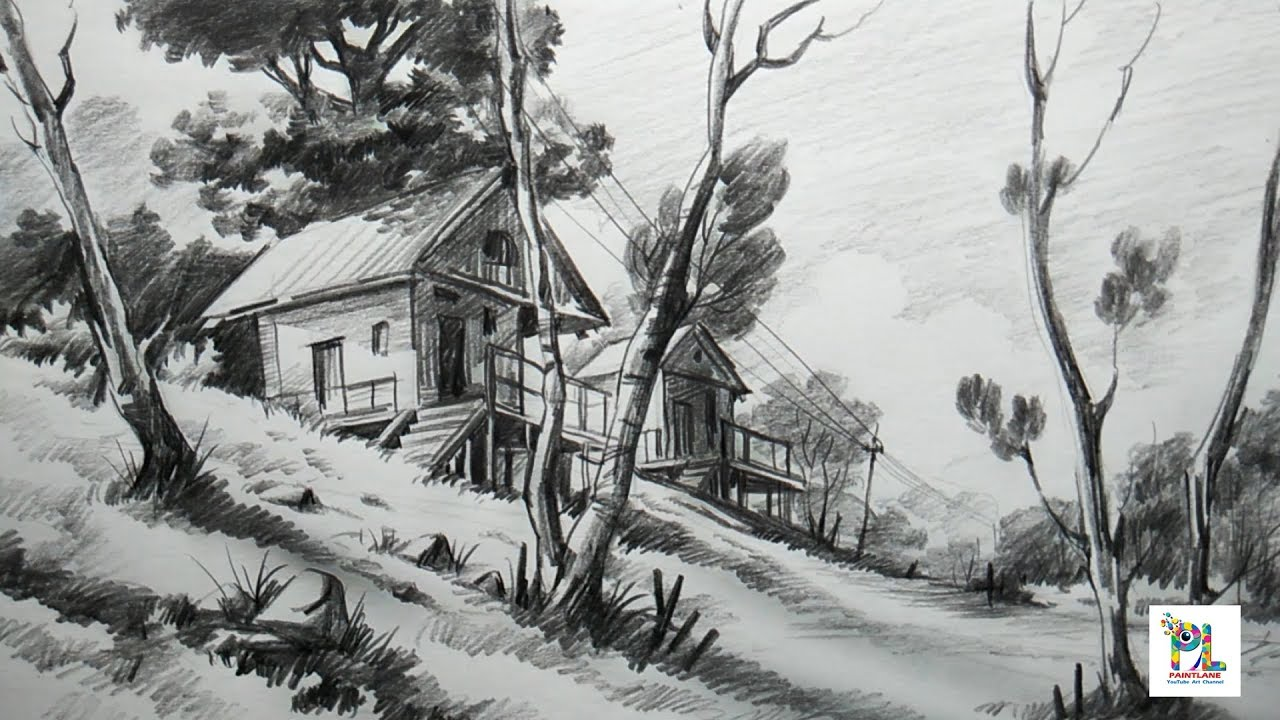 How to Draw Basic Landscape For Beginners With PENCIL ...